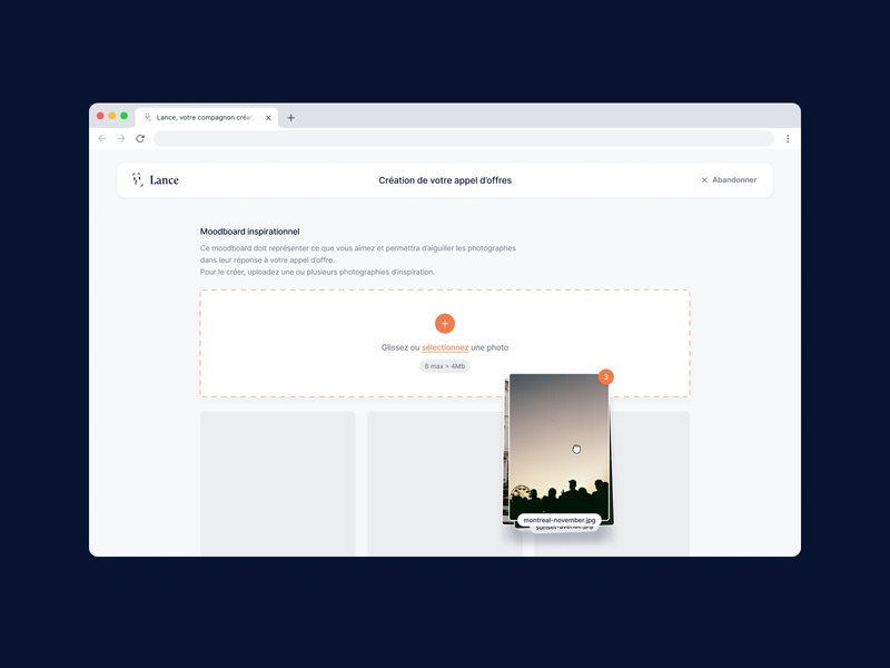 Lance - Moodboard uploads drag and drop interaction invitation for tender ux ui platform editor form moodboard product design product