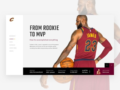 Lebron James - Interface website sport ux ui nba cavs cleveland cavaliers lebron james basketball