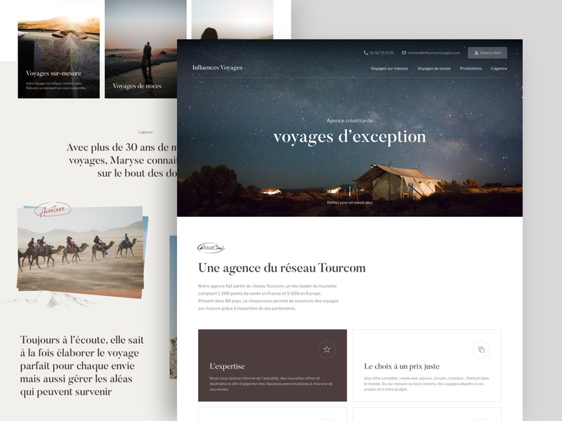 Influences Voyages - Landing page travel travel agency design website landing page landing home ui branding brand