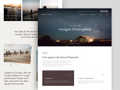 Influences Voyages - Landing page travel travel agency design website landing page landing home ui branding brand