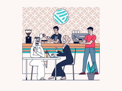 Illustrations for Empire Coffee work happy doha coffee cups coffee design design design studio design agency colourful coffee brand coffee arabic branding illustration brand brand design