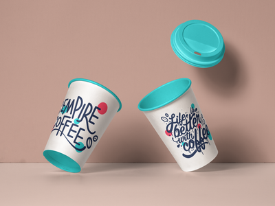 Brand identity for Empire Coffee work happy doha coffee cups coffee design design design studio design agency colourful coffee brand coffee arabic branding illustration brand brand design