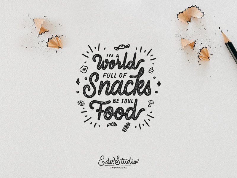 Full of Snacks work vintage typography t-shirt passion live illustration humble holiday handlettering design apparel