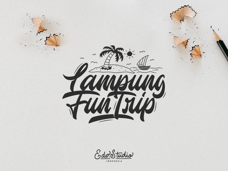 Lampung Fun Trip vintage uiux typography type t-shirt logotype logo humble handwriting handlettering font design branding apparel