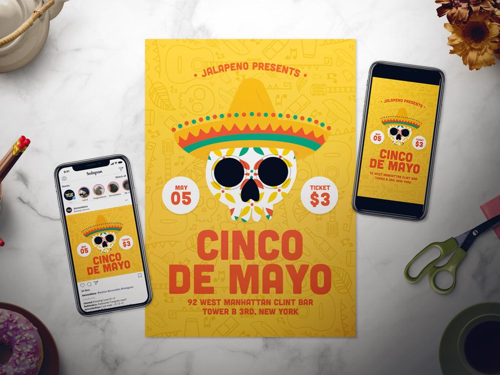 Cinco De Mayo dia de los muertos día de muertos sugar skull sugar skull instastory story template instagram poster flyer event mexican mexico 5th of may mayo de cinco cinco de mayo
