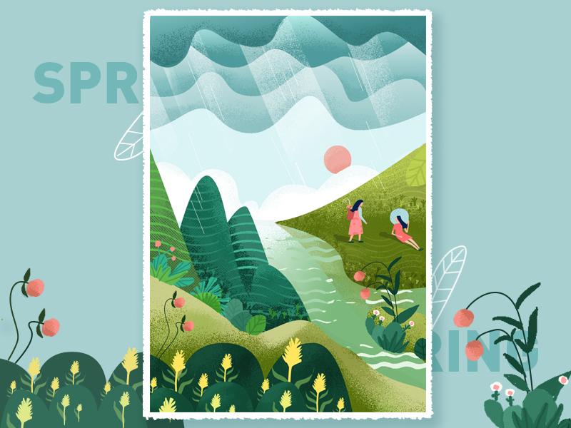 谷雨 symbol sketch rain flower illustration girl spring material ui illustration design