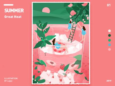 大暑 summer spring ui illustration design