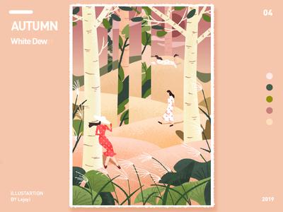 白露 autumn sketch fresh ui illustration design