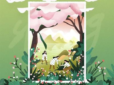 惊蛰 material green fresh ui illustration design