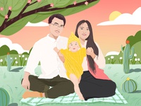 family cartoon picture cartoon cute green app love baby family happy wish illustration ui design