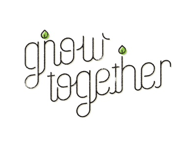Grow Together type grow leaf icon lettering script stroke rounded