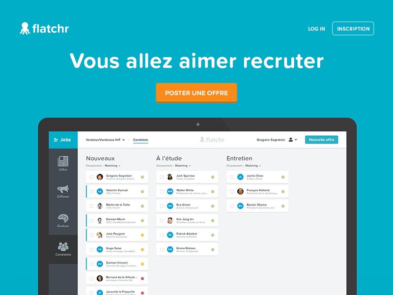 Landing page - flatchr.io recruit hire minimal screen design flatchr ux blue ui website landing mac