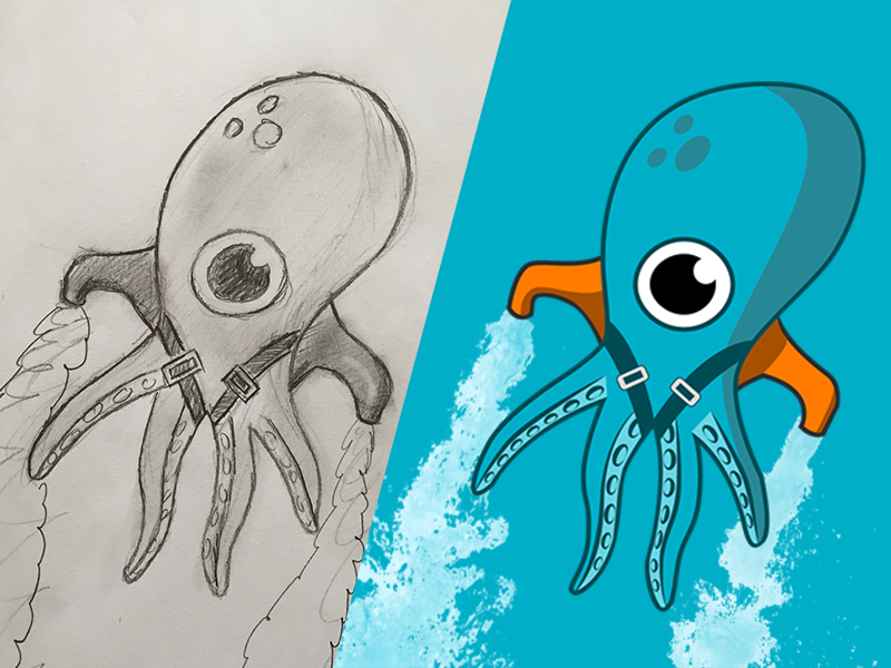 Paul the octopus blue graphic illustrator flat squid octopus animal illustration flatchr paul mascot design