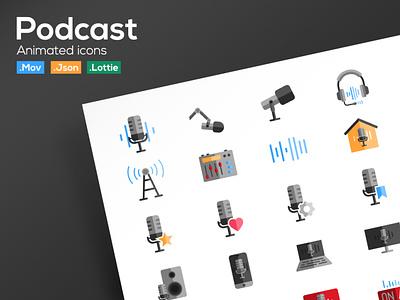 Podcast Animated Icons ui illustration lottie animation motion graphic animation lottie podcast icon set icon