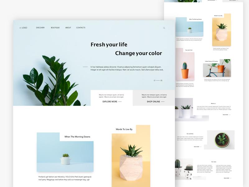 Plants landing page plant landing page header website clean minimalism minimal