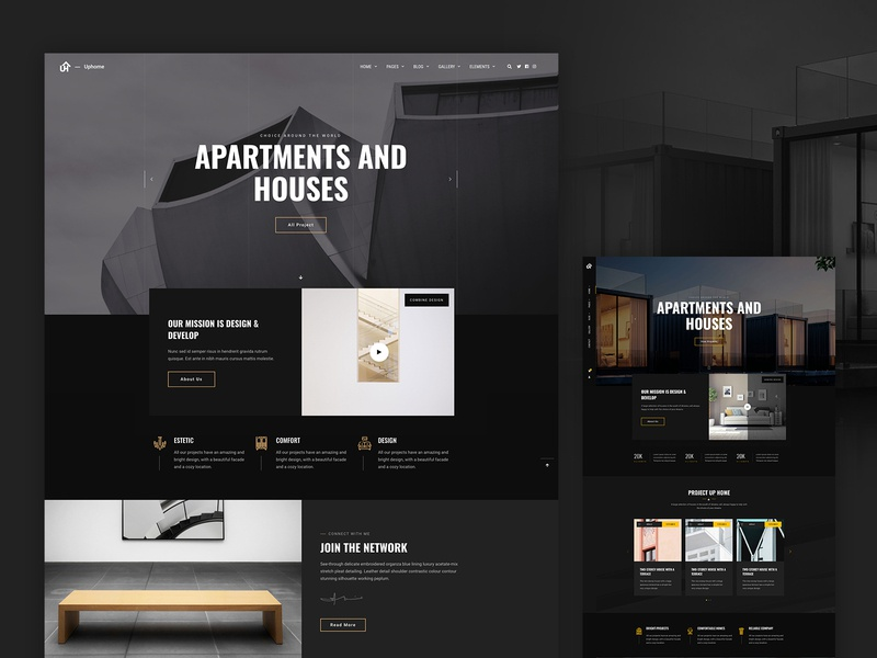 Uphome - design web-site ux home theme themeforest homepage ui design