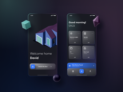 Smart Home App UI user interface mobile app mobile ui glass glassmorphism dark ui dark clean minimal ux ui flat app design