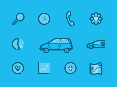 Swoop Icons carpooling line graph pie chart stats phone settings map clock history search car icons