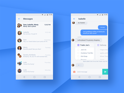 Chat UI chatbot messages threads bubbles material clean simple ui chat bot chat android