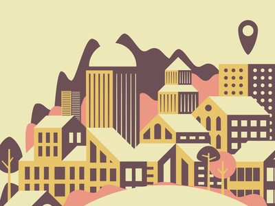 Life360 t-shirt sky scraper design illustration geometric simple skyline buildings mountains city town cityscape tshirt