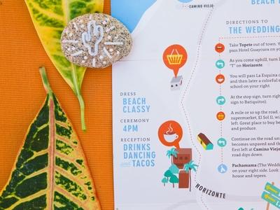 O'Chapo Invite directions baja mexico map illustration design print wedding invite