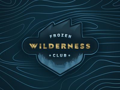 Frozen Wilderness Club frozen clean nature snow alpine ice gold badge pine trees mountains