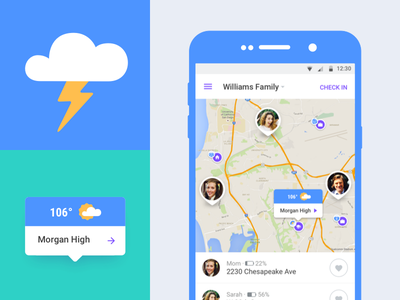 Weather Icons tooltip mobile map family icon thunderstorm weather flat clean ui android material design