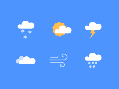 Weather Icons lightning sun wind snow rain cloud weather thunderstorm icon flat clean