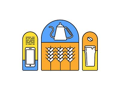 Logo Reject coffee bean code iphone beer pint grain wheat barley coffee kettle flat logo