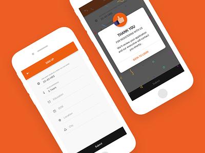 Signup ux orange interface design design studio india branding 999watt