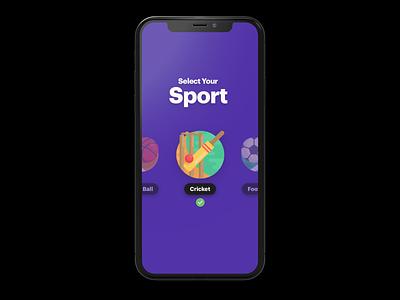 Sport Selection 999watt sports selection cricket purple ui ux design studio india uidesign mobile design fantasy sports app