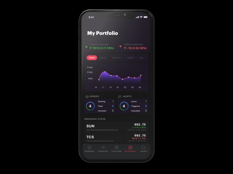 Stock portfolio app 999watt design studio india mobile app designing black ui design stock market app