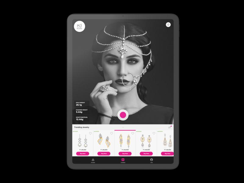 Virtual Jewellery try on AR App 999watt black interface ui design ui  ux design studio india pink augmented reality ipad app