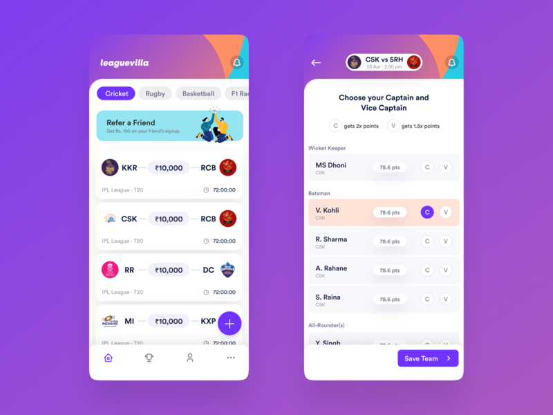 Fantasy Sports App - sneak peak ui design 999watt
