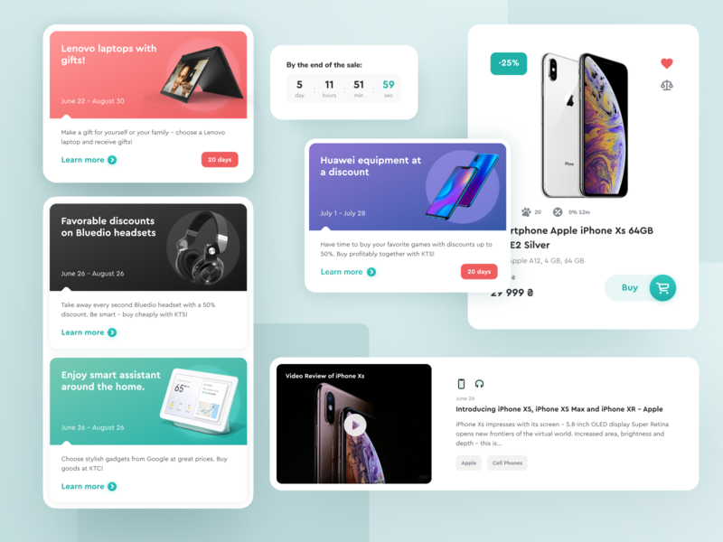 E-commerce Website UI Elements web design ecommerce shop uxui timer blog cart buy now user experience cards design system iphone sale ecommerce ux user interface ui