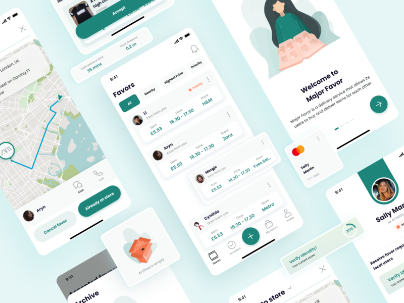 iOS Delivery App UI Elements delivery service delivery card payment screens progressbar onboarding profile box listing map favor delivery app clean illustration uxui design ux user interface ui