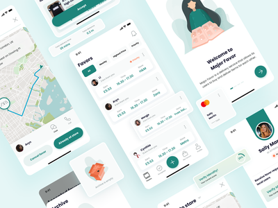 iOS Delivery App UI Elements mobile delivery service delivery card payment screens progressbar onboarding profile box listing map favor delivery app clean illustration uxui ux user interface ui