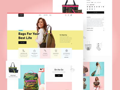 Online store for bags that do it all web page web design bag design ecommerce design pink yellow colorful fashion shopping shop bags landing page ecommerce home page web uxui design ux user interface ui