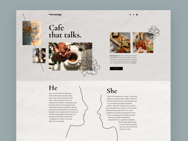 Website for the cozy cafe hero image hand drawn flower homepage talks cafe lovestory paper cozy hbtat clean home page sketch illustration web uxui design user interface ux ui