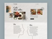Website for the cozy cafe webdesign web design hero image hand drawn flower homepage cafe lovestory paper cozy hbtat clean home page illustration web uxui design user interface ux ui