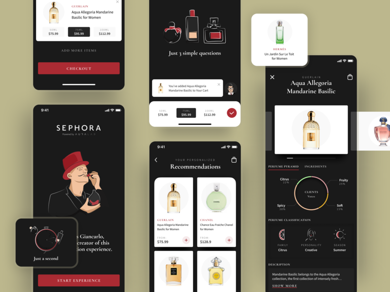 Ai powered Perfume Shopping Assistant Design mobile app mobile design mobile productpage product perfumes crafts icons character cards appdesign perfume app uxui clean hbtat illustration ux user interface ui
