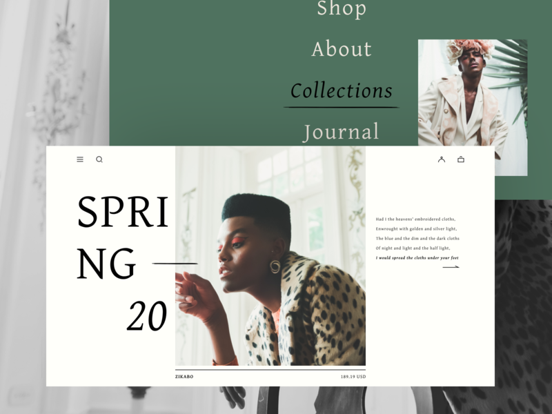 Fashion E-commerce typogaphy menu photos bone green home page homepage clothes queer fashion web design websedign ecommerce hbtat clean design uxui web ux ui