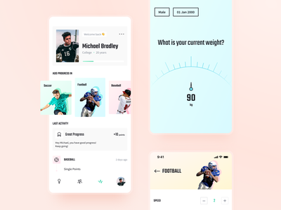 Daily Activity Tracking App quiz onboarding profile uxui clean design user interface palette screens tracking app ux ui sport app sport application bright colorful light ui app design app