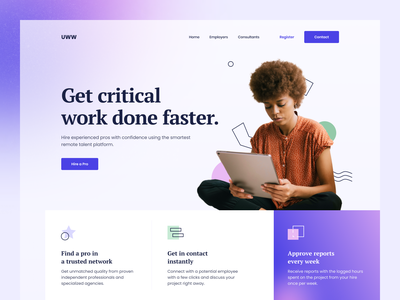 Marketing Website for Job Listing Product ondemand job listing work job website design blurred background blur color hbtat web design ui