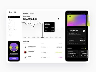 Fintech: Gen Z Neobank clean user interface currency fintech app uxui gradient hbtat finance app banking bank card bank app bank dashboard app dashboad finance dashboard finance fintech