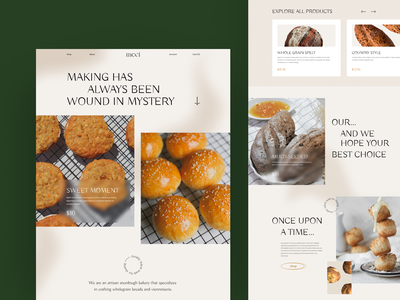 Craft Bakery Website homepage pastel color photos craft bread bakery ecommerce web design hbtat home page clean web uxui design user interface ui