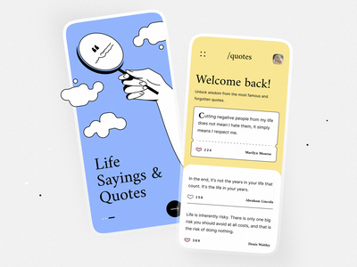 """Mobile Application """"Say the day"""" wise quotes application sweet clean uxui mobile application mobile user interface design illustration graphic design ui"""