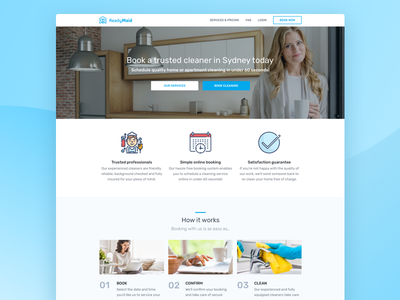 Ready Maid Website cleaning company live site ui ux web site home page