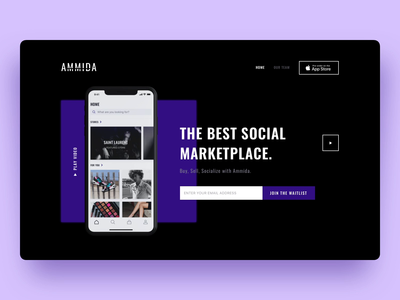 Landing page for the high-end marketplace mobile app comingsoon motion graphics landing page marketplace violet coming soon motion ecommerce ios animation uxui sketch design user interface ux ui