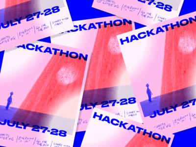 HACKATHON Posters pink stroke brush lettering type poster hack hackathon